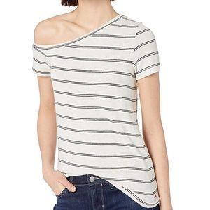 N:philanthropy striped off shoulder casual shirt